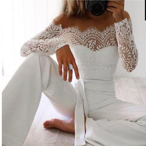White off the shoulder lace jumpsuit!